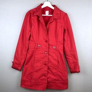 Roxy Red Single Breasted Long Peacoat Jacket